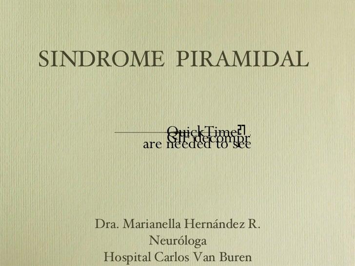 SINDROME  PIRAMIDAL <ul><li>Dra. Marianella Hernández R. </li></ul><ul><li>Neuróloga </li></ul><ul><li>Hospital Carlos Van...