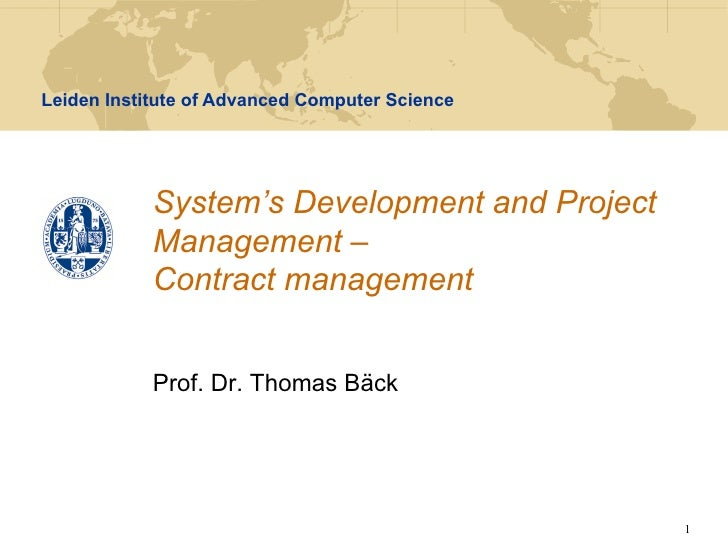 SDPM - Lecture 10 - Contract management