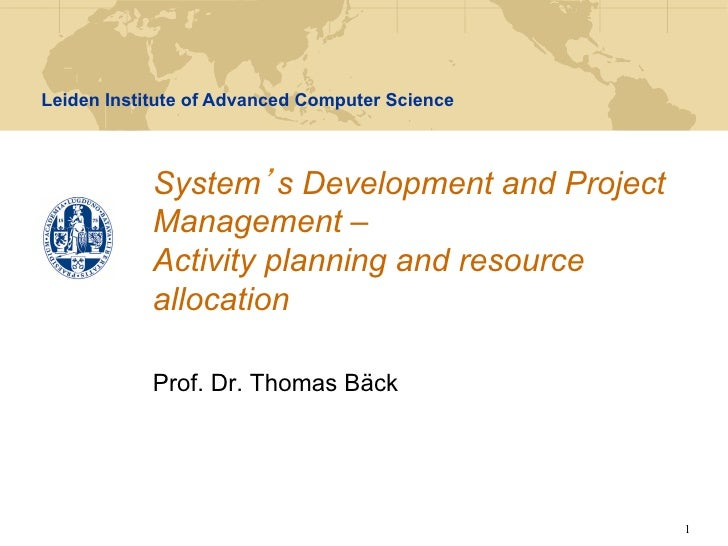 SDPM - Lecture 4 - Activity planning and resource allocation