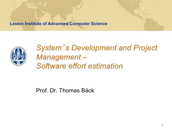 SDPM - Lecture 5 - Software effort estimation