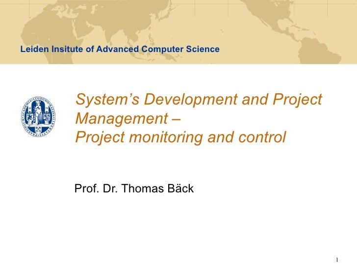 SDPM - Lecture 7 - Project monitoring and control