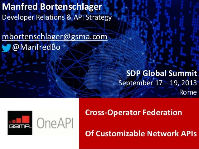 Cross-Operator Federation Of Customizable Network APIs Manfred Bortenschlager Developer Relations & API Strategy mbortensc...