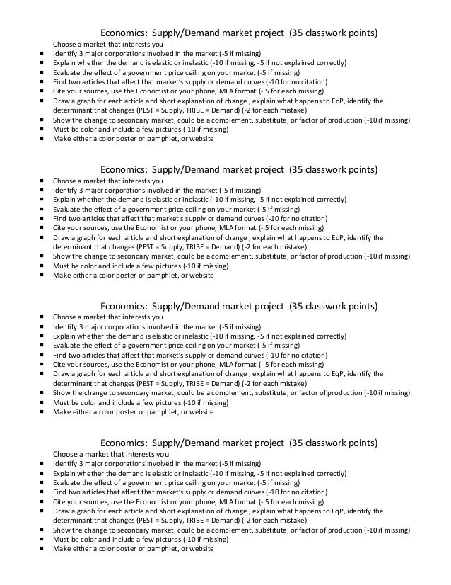 Economics: Supply/Demand market project (35 classwork points) Choose a market that interests you  Identify 3 major corpor...