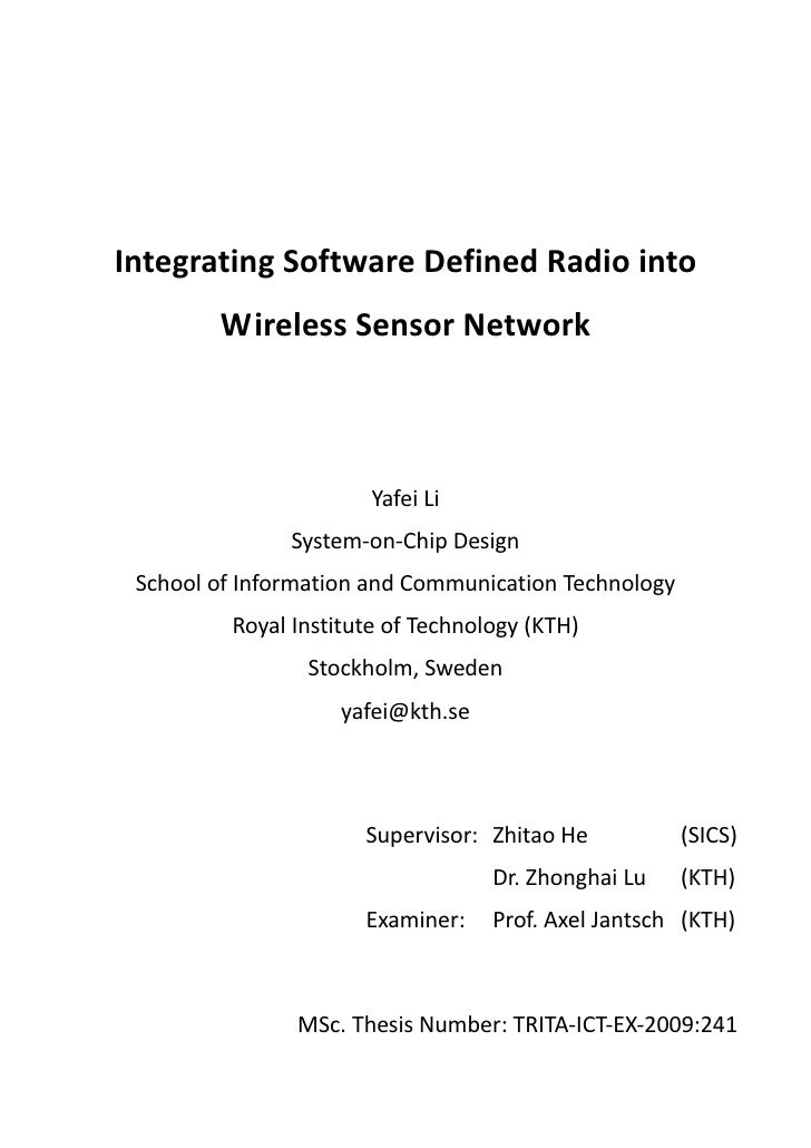 IntegratingSoftwareDefinedRadiointo           WirelessSensorNetwork                           YafeiLi          ...