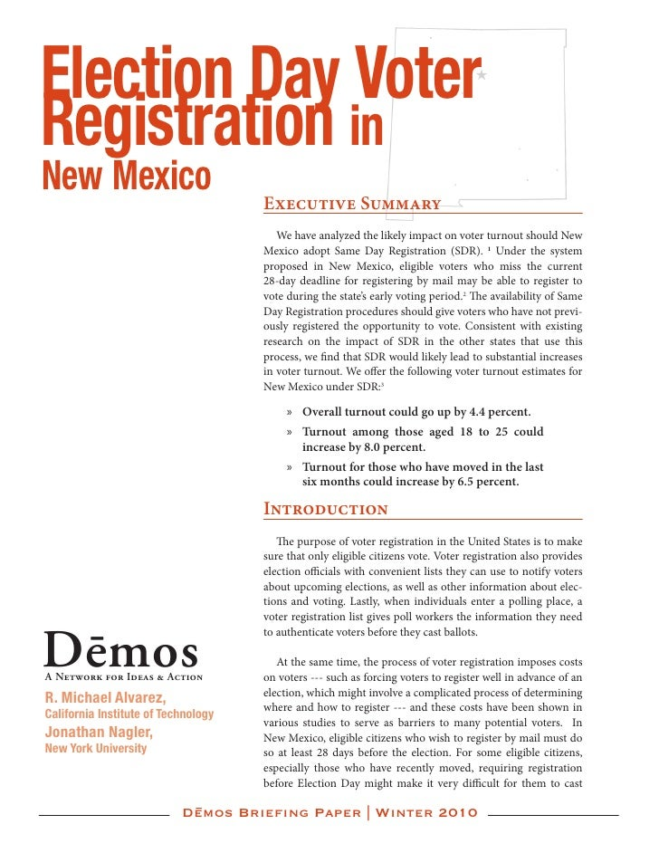 Election Day Voter Registration in New Mexico                           Executive Summary                                 ...