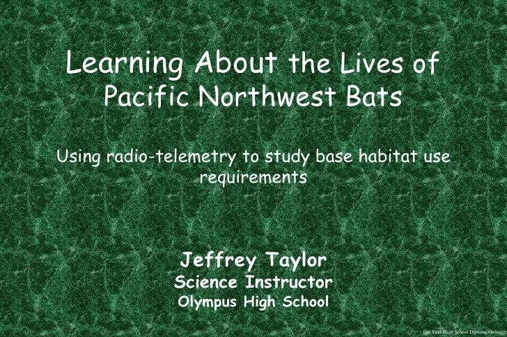 SDS Episode2 - The Habitat Requirements of Pacific Northwest Bats