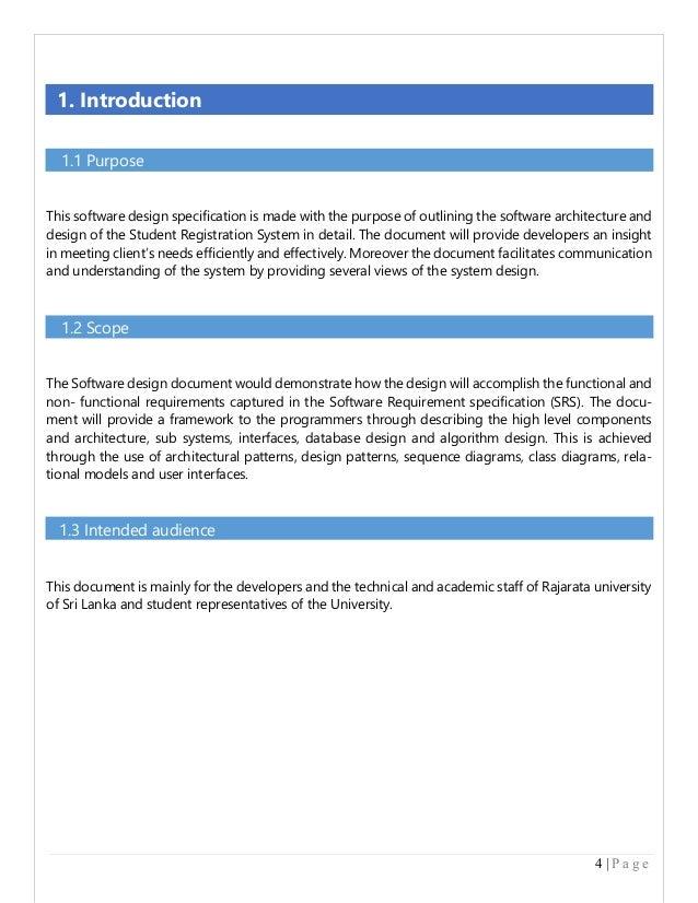 software design specification document essay