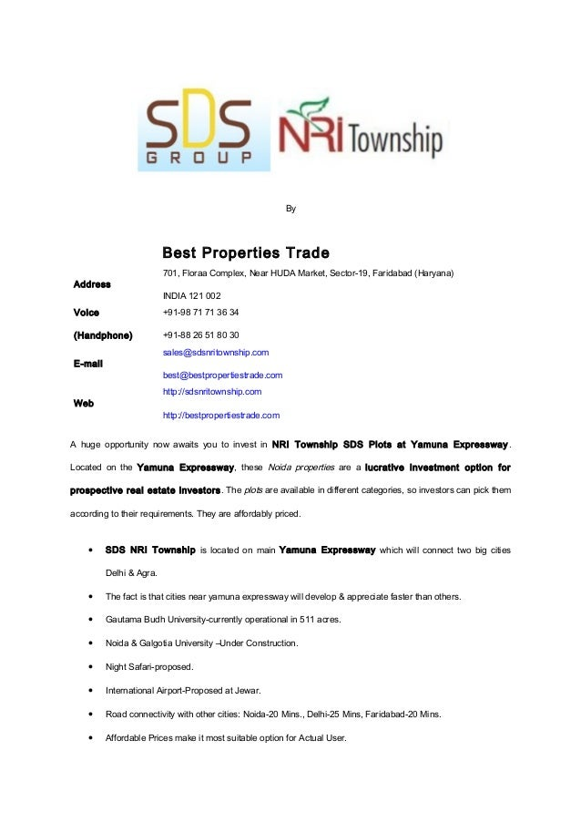 Sds nri township at yamuna expressway by best properties trade propex