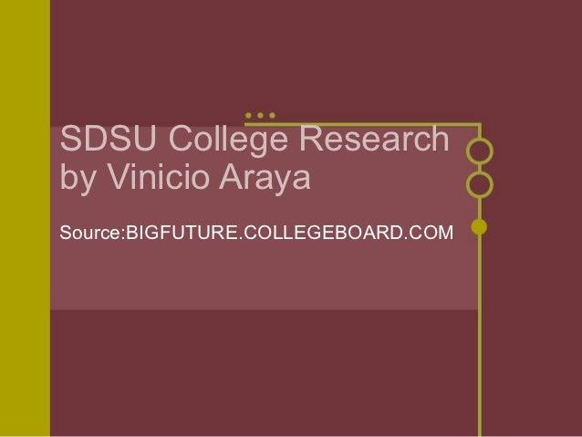 SDSU College Researchby Vinicio ArayaSource:BIGFUTURE.COLLEGEBOARD.COM