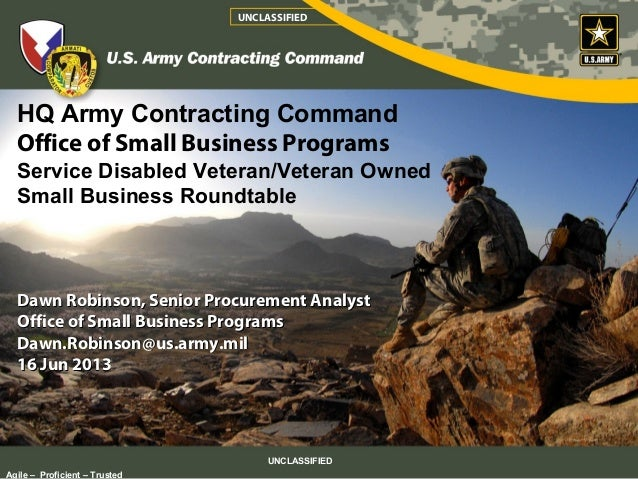 HQ Army Contracting Command Office of Small Business Programs Service Disabled Veteran/Veteran Owned Small Business Roundt...