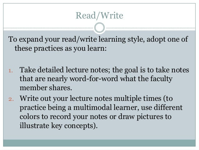 Learning Read Read/write Learning Style