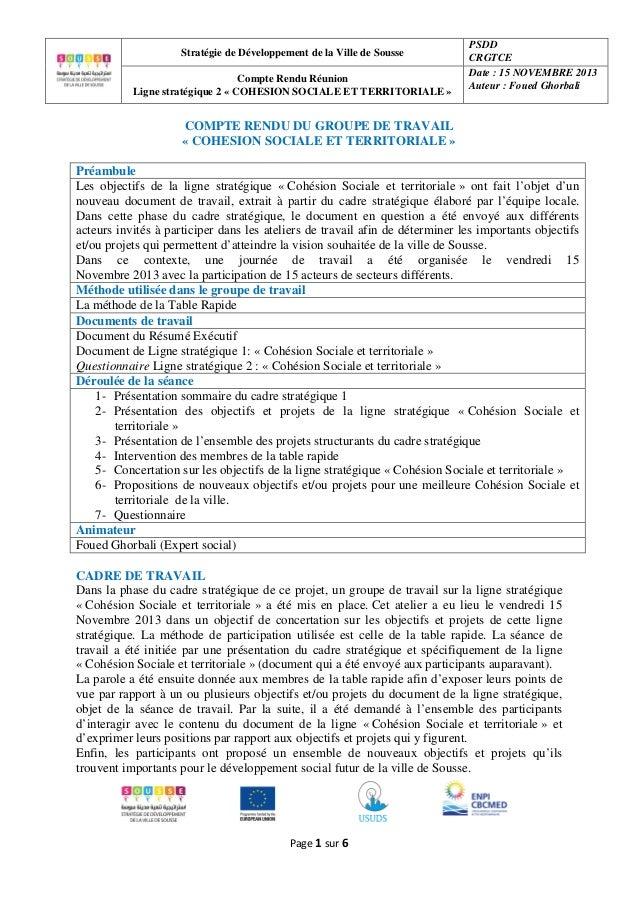 Stratégie de Développement de la Ville de Sousse Compte Rendu Réunion Ligne stratégique 2 « COHESION SOCIALE ET TERRITORIA...