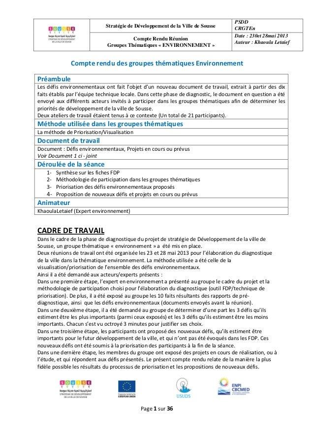 Stratégie de Développement de la Ville de Sousse PSDD CRGTEn Compte Rendu Réunion Groupes Thématiques « ENVIRONNEMENT » Da...