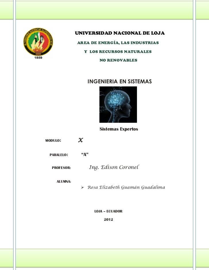 UNIVERSIDAD NACIONAL DE LOJA               AREA DE ENERGÍA, LAS INDUSTRIAS                    Y LOS RECURSOS NATURALES    ...