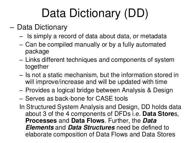 Se 381 lec 21 23 12 may09 df ds and data dictionary for Data dictionary