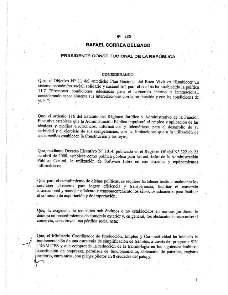 Ventanilla Única Ecuatoriana para el Comercio Exterior  Decreto 285