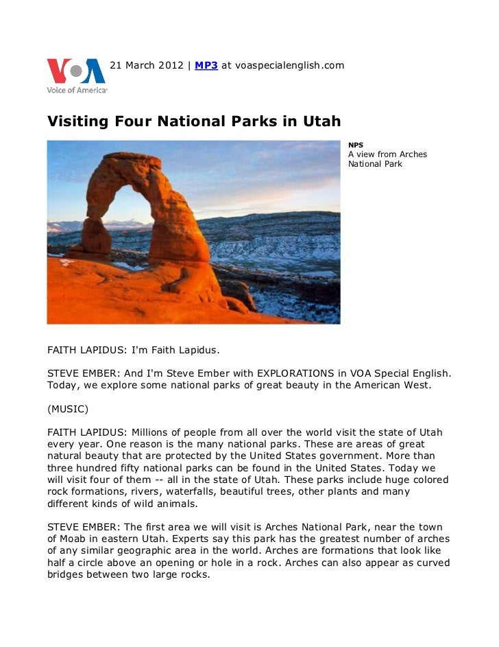 21 March 2012 | MP3 at voaspecialenglish.comVisiting Four National Parks in Utah                                          ...