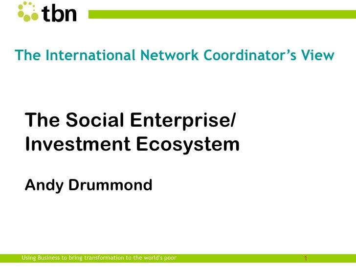 The International Network Coordinator's View The Social Enterprise/ Investment Ecosystem Andy DrummondUsing Business to br...