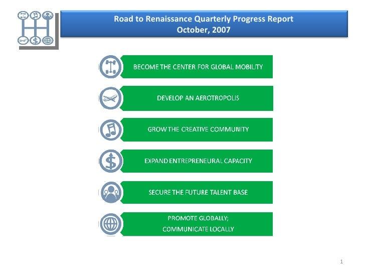Road to Renaissance Quarterly Progress Report October, 2007