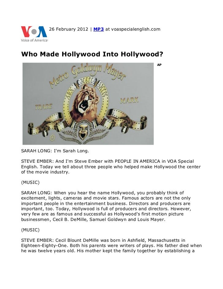 26 February 2012 | MP3 at voaspecialenglish.comWho Made Hollywood Into Hollywood?                                         ...