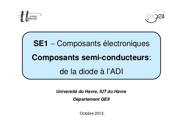 Page 1/160  SE1 - Composants électroniques  Composants semi-conducteurs:  de la diode à l'ADI  Université du Havre, IUT du...