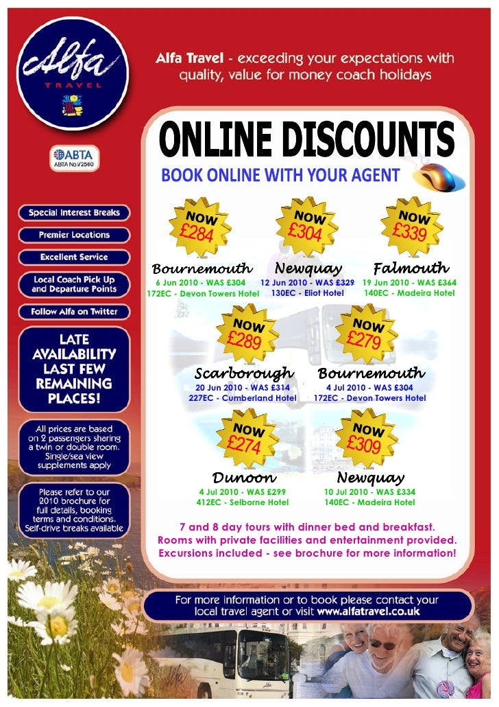 Alfa Travel Online Offers for departures from South