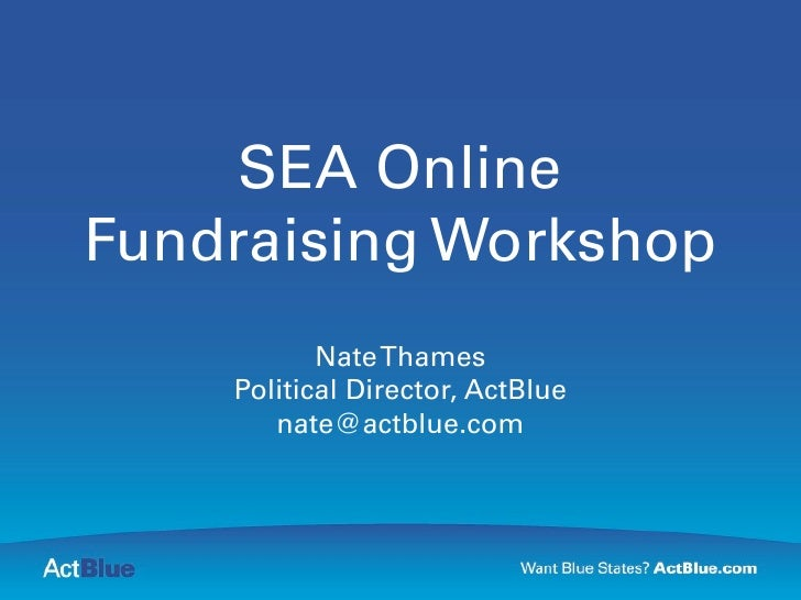SEA Fundraising Workshop - Nate Thames