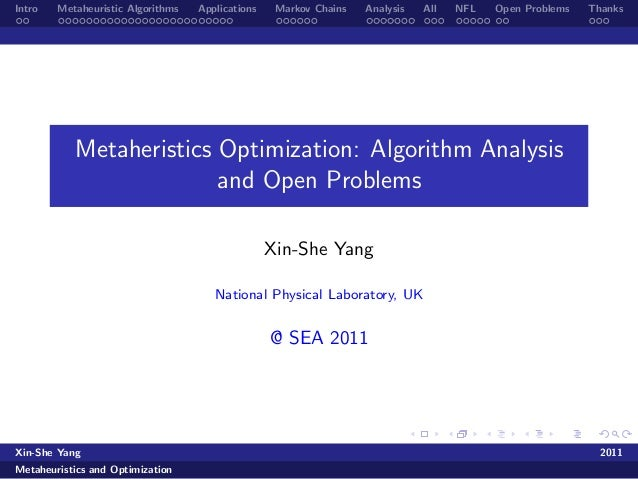 Metaheuristic Optimization: Algorithm Analysis and Open Problems