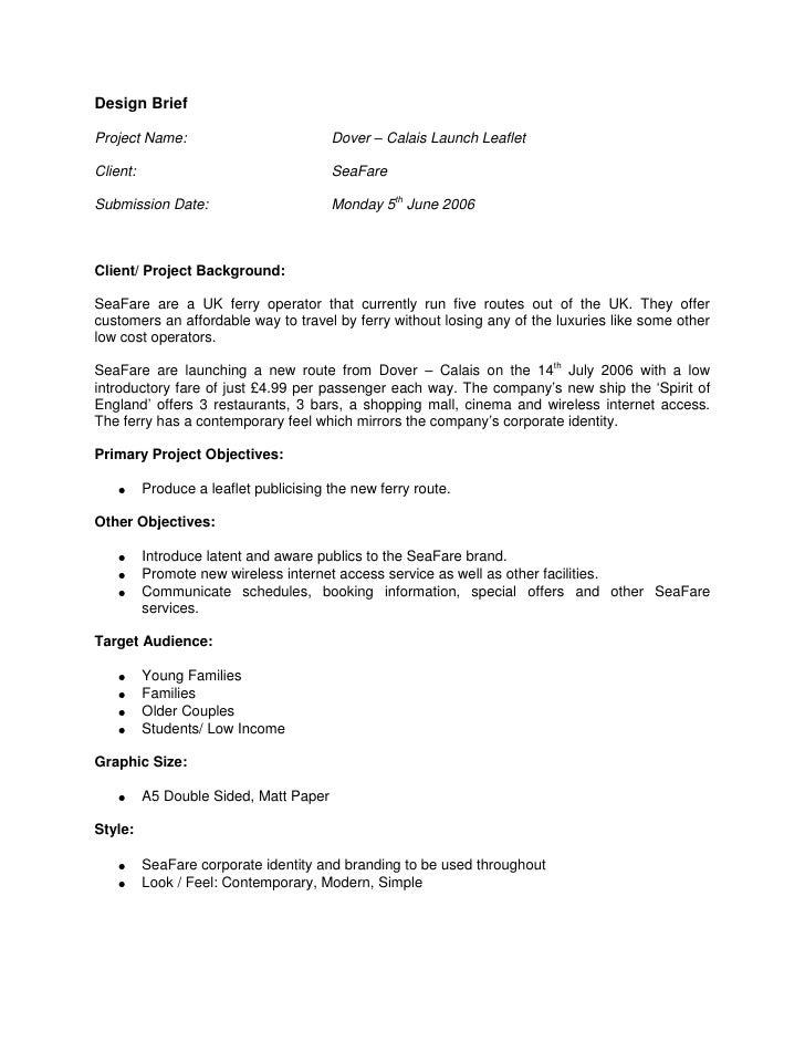 SeaFare Design Brief