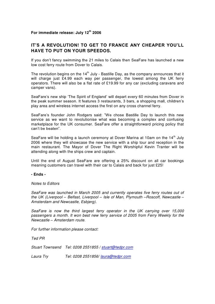SeaFare Press Release