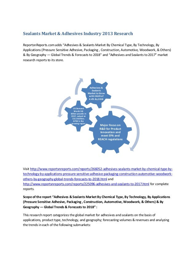"""Sealants Market & Adhesives Industry 2013 Research ReportsnReports.com adds """"Adhesives & Sealants Market By Chemical Type,..."""