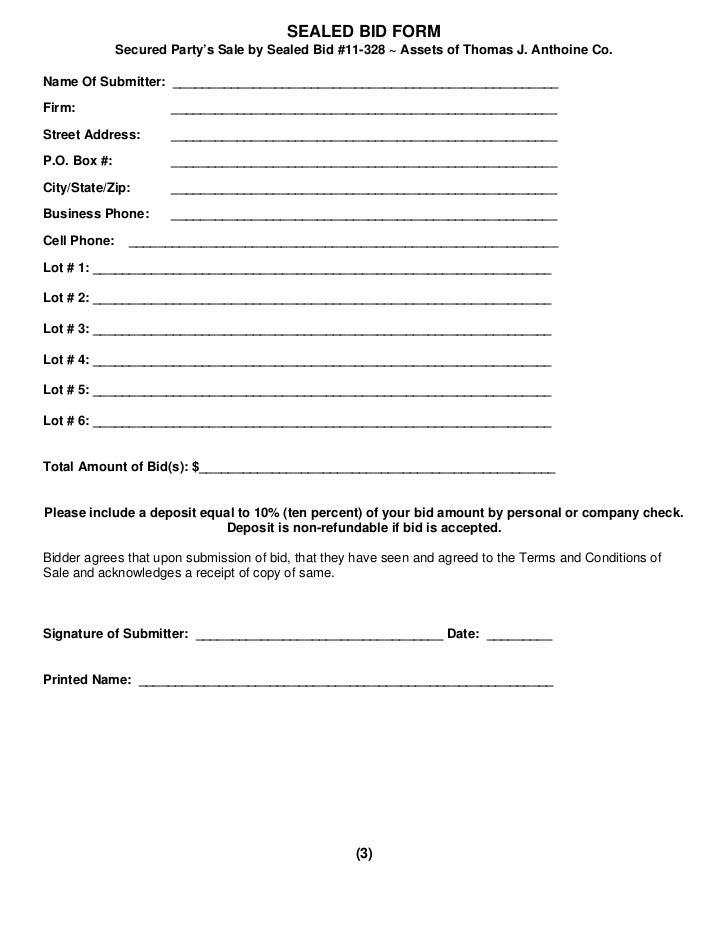 bid sheet template