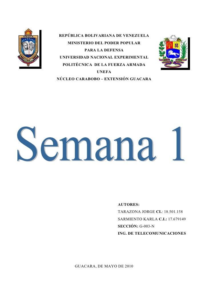 REPÚBLICA BOLIVARIANA DE VENEZUELA     MINISTERIO DEL PODER POPULAR           PARA LA DEFENSA  UNIVERSIDAD NACIONAL EXPERI...