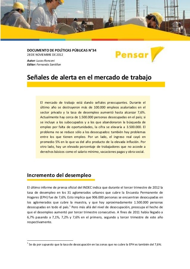 Señales de alerta en el mercado de trabajo, por Lucas Ronconi y Fernando Santillán