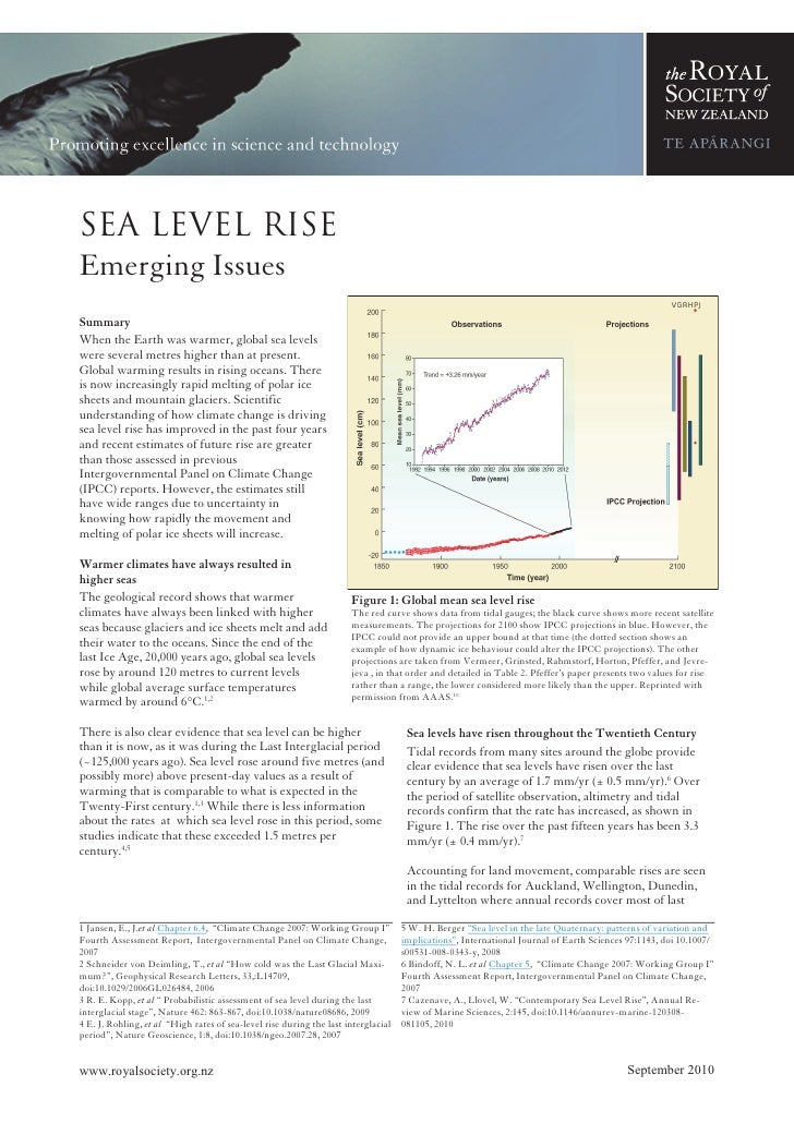 Sea level rise, emerging issues paper, royal society of new zealand, sept 2010