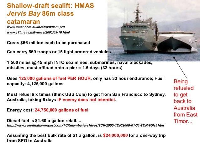 Shallow-draft sealift: HMASJervis Bay 86m classcatamaranwww.incat.com.au/incat/pdf/86m.pdfwww.c7f.navy.mil/news/2000/09/16...