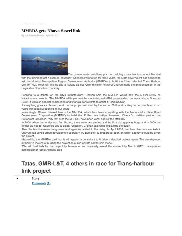 InfrastructureMMRDA gets Nhava-Sewri linkBy our Editorial Bureau April 08, 2011                                          T...