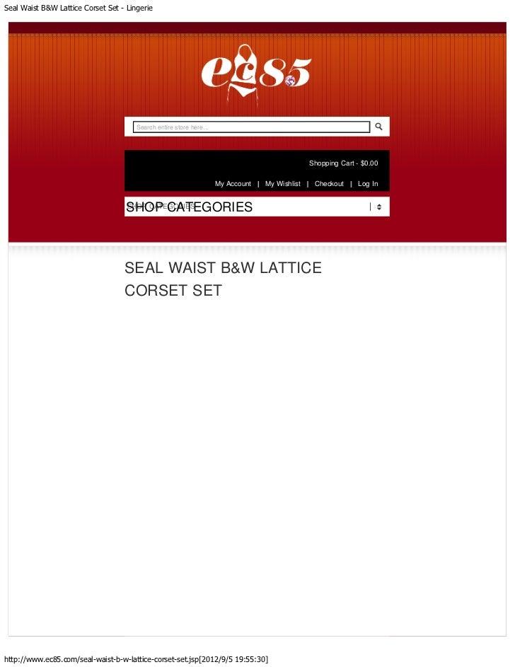 Seal Waist B&W Lattice Corset Set - Lingerie                                       Search entire store here...            ...