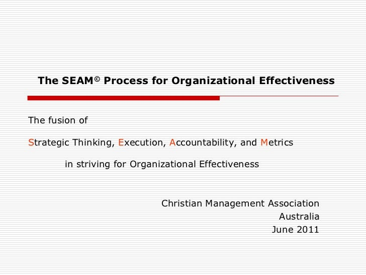 The fusion ofStrategic Thinking, Execution, Accountability, and Metricsin striving for Organizational Effectiveness<br />...
