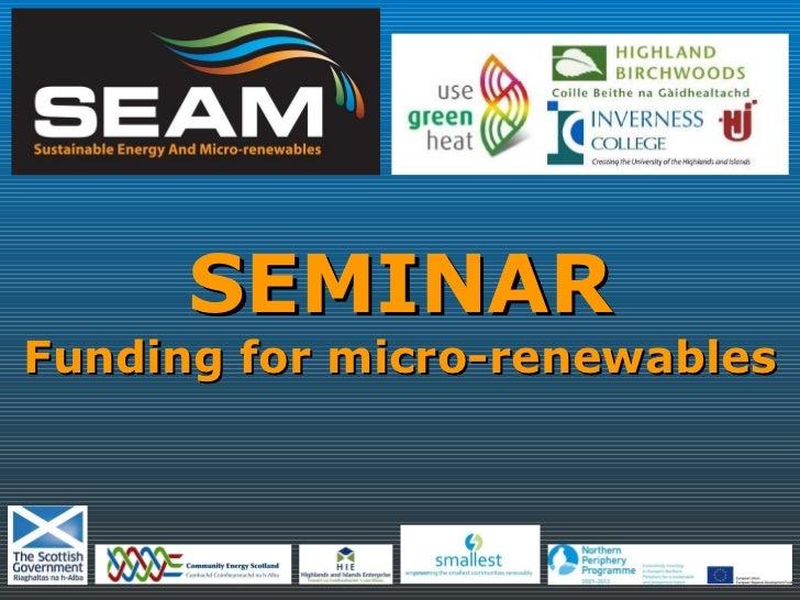 SEAM Centre Seminar - July 2010
