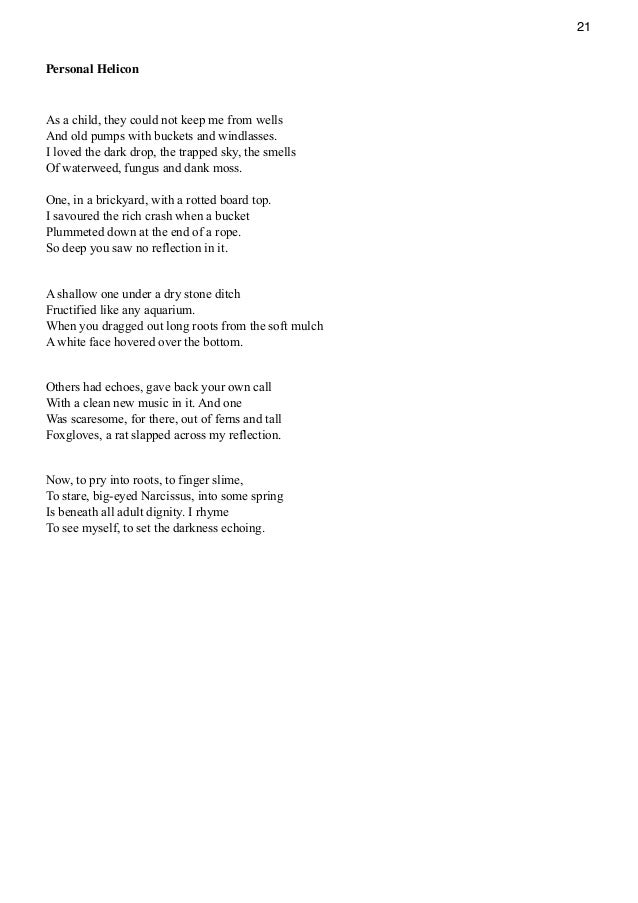 Seamus Heaney personal helicon