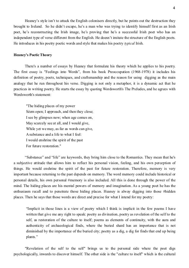 Seamus heaney writing style