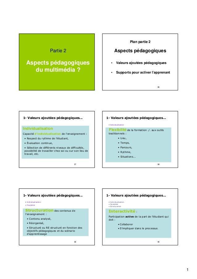 Plan partie 2  Aspects pédagogiques  Partie 2  Aspects pédagogiques du multimédia ?  •  Valeurs ajoutées pédagogiques  •  ...