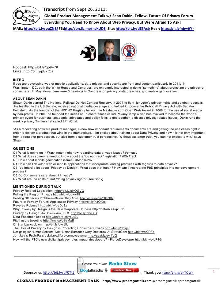 Transcript from Sept 26, 2011:                      Global Product Management Talk w/ Sean Dakin, Fellow, Future Of Privac...