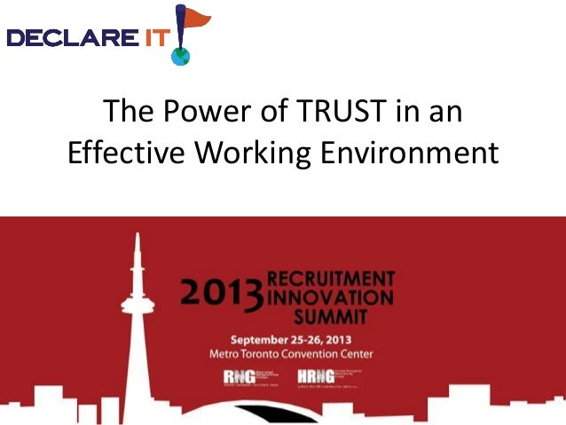 The Power of TRUST in an Effective Working Environment