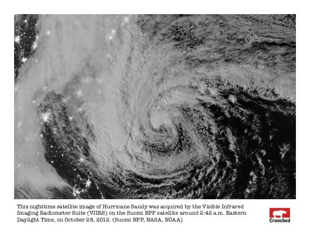 This nighttime satellite image of Hurricane Sandy was acquired by the Visible InfraredImaging Radiometer Suite (VIIRS) on ...