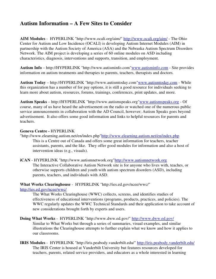 "Autism Information – A Few Sites to Consider  AIM Modules - HYPERLINK ""http://www.ocali.org/aim/"" http://www.ocali.org/aim..."