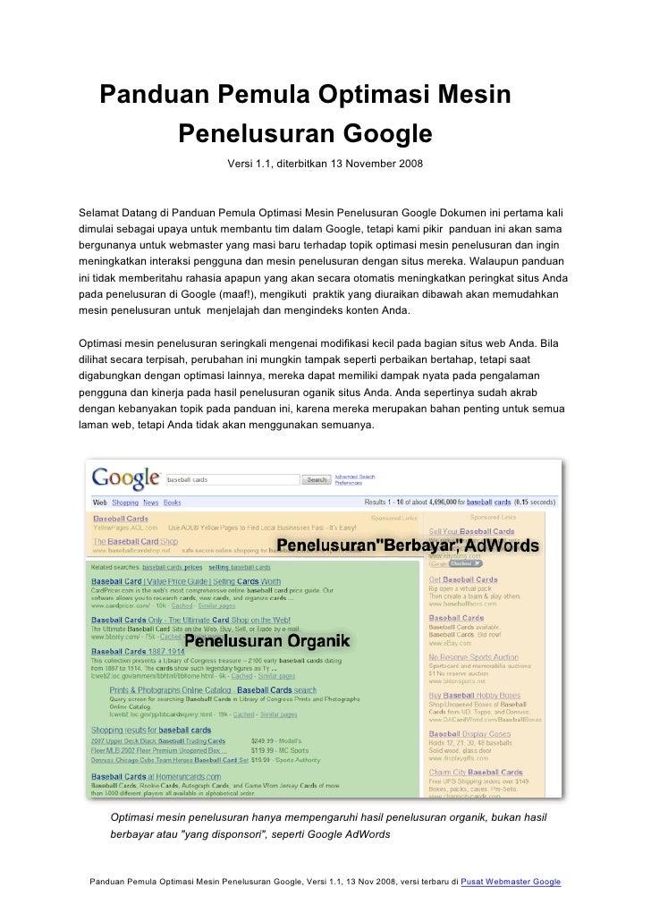 Panduan Pemula Optimasi Mesin         Penelusuran Google                                   Versi 1.1, diterbitkan 13 Novem...