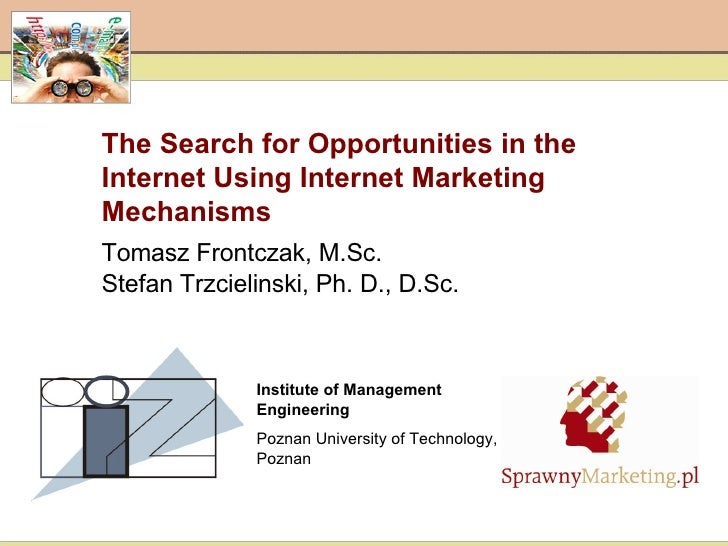 The Search for Opportunities in the Internet Using Internet Marketing Mechanisms