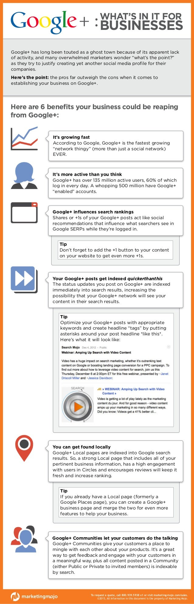 WHAT'S IN IT FOR BUSINESSES Here are 6 benefits your business could be reaping from Google+: Google+ Communities let your ...